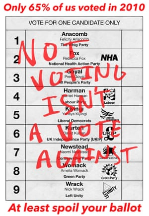 Not voting isn't a vote against  Tim MacQueen, graphic design, Camberwell College of Arts