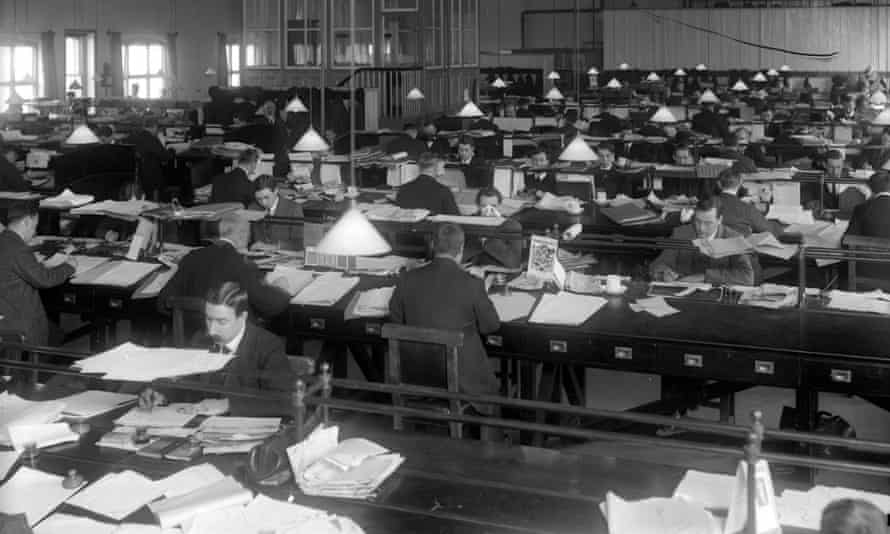 Male office clerks working for the London and South Western railways at Nine Elms, Wiltshire, 1916