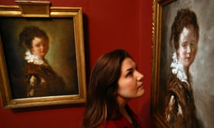 Jean-Honoré Fragonard's 18th-century painting Young Woman (left) next to its replica. The public was asked to identify the fake among the gallery's permanent collection by conceptual artist Doug Fishbone.