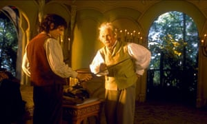 Elijah Wood and Ian Holm in The Lord of the Rings: The Fellowship of the Rings
