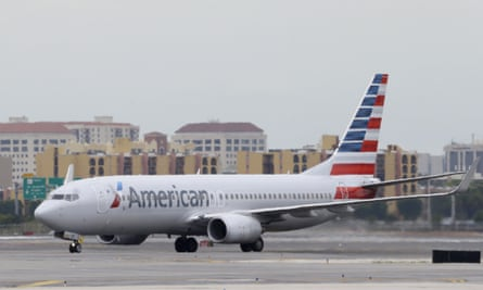 American Airlines Boeing 737 taxis before taking off at Miami International Airport.
