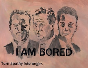 I AM BORED Rebecca Sander, BA (Hons) Illustration, Camberwell College of Arts (University of the Arts London) Personally I am frustrated with the campaigns for the general election. I feel I'm not being represented by fleshy middle class men, the differences between policies are hard to find, and debates quickly boil down to the kind of backstabbing and smearing I recognise from school.