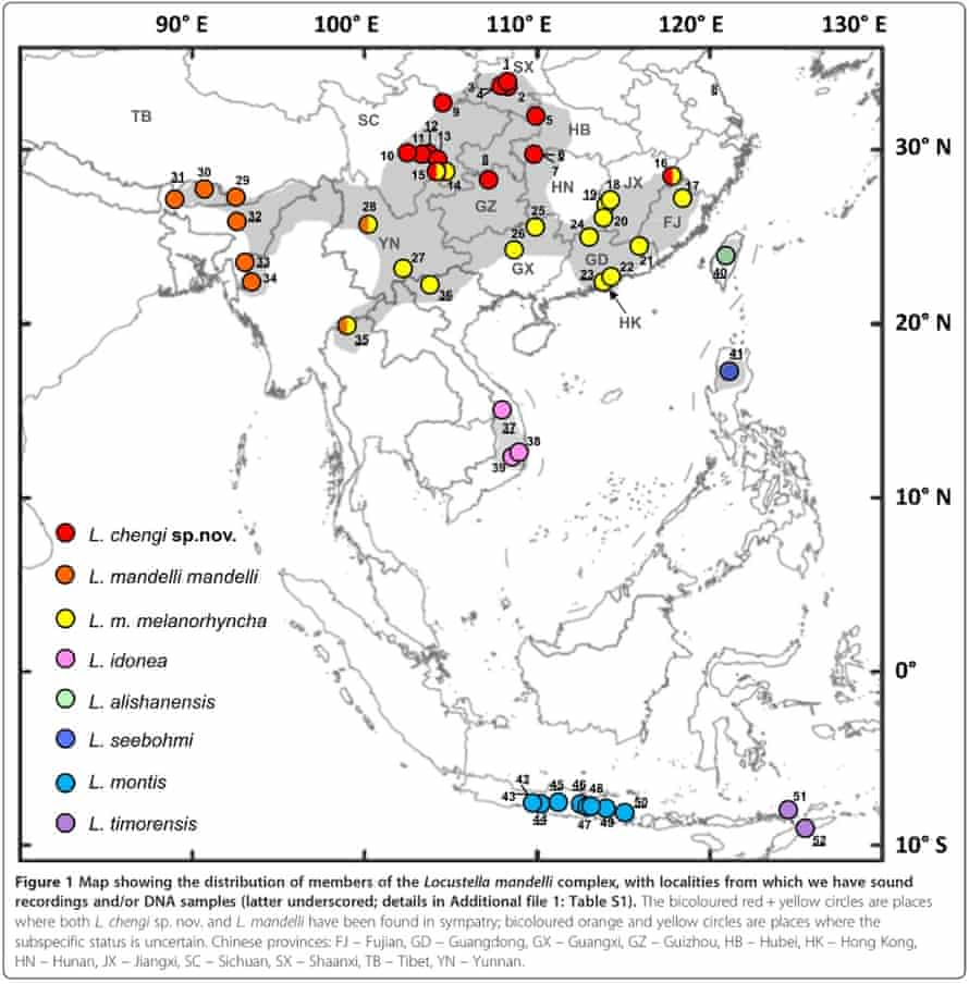Bush Warbler China range map (doi:10.1186/s40657-015-0016-z)