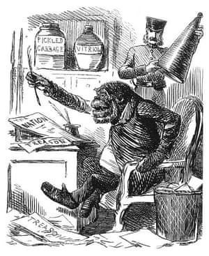 John Leech's cartoon Mr G-O'Rilla appeared in Punch, 14 December 1861, accompanying an article quoting calls for Irish independence made in The Nation