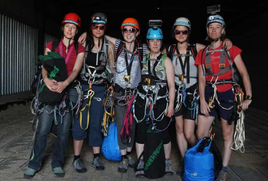 The six female activists, with Victoria Henry third from left, pose before beginning their ascent of the Shard.