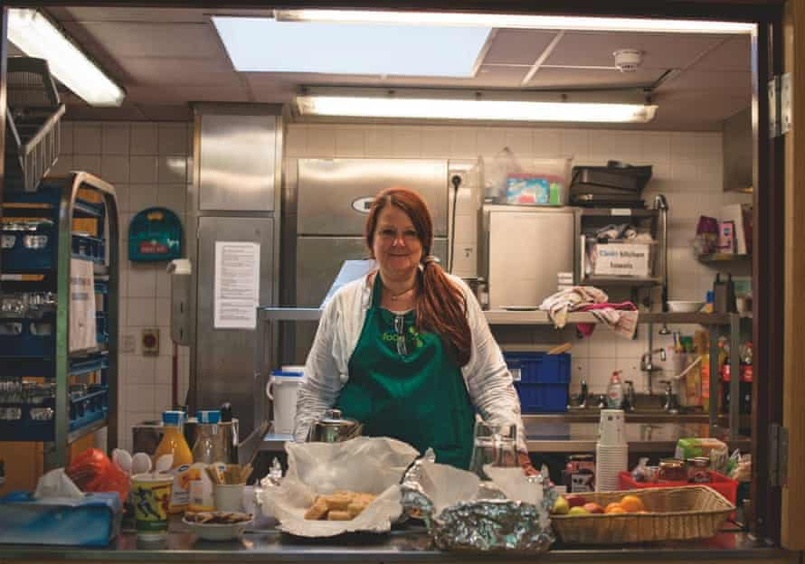Sandra Harding volunteering at a food bank