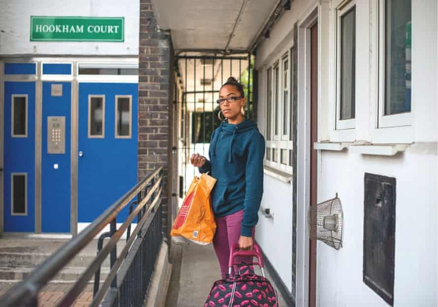 Chaunte Campbell arrives back at her flat