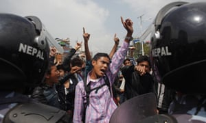 Nepalese protest the slow pace of aid delivery for the earthquake. The protesters numbering about 200 faced off with police and there were minor scuffles but no arrests were made.
