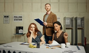Mark Gatiss with Catherine Tate and Nina Sosanya in  The Vote.