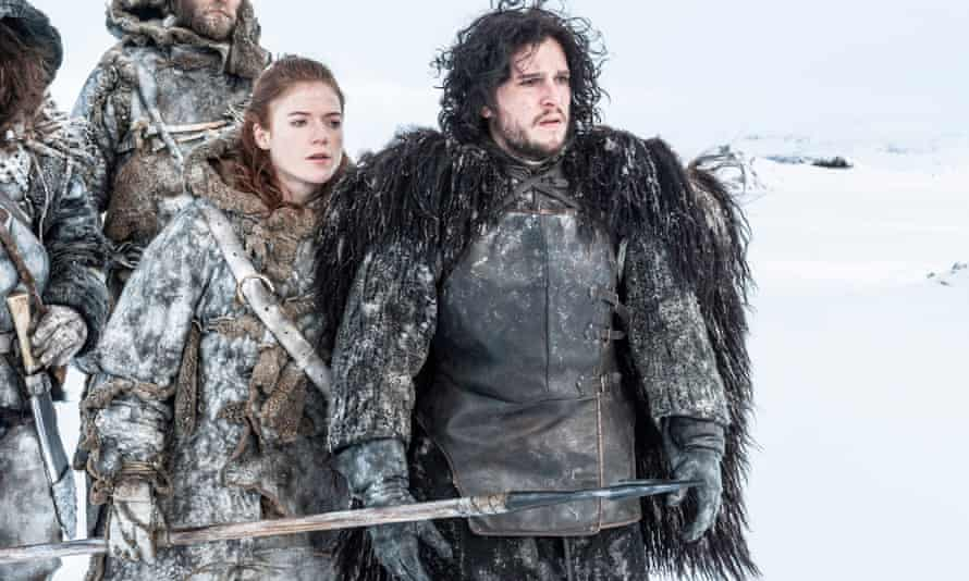 Kit Harington in Game of Thrones, with Rose Leslie as Ygritte, his lover.
