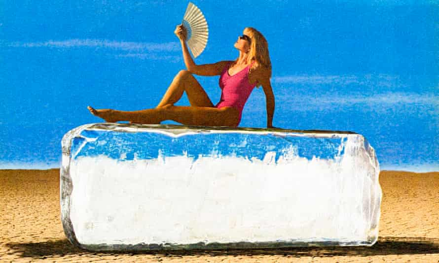 woman on giant ice cube The Refreshest, Part II, 1990/2015