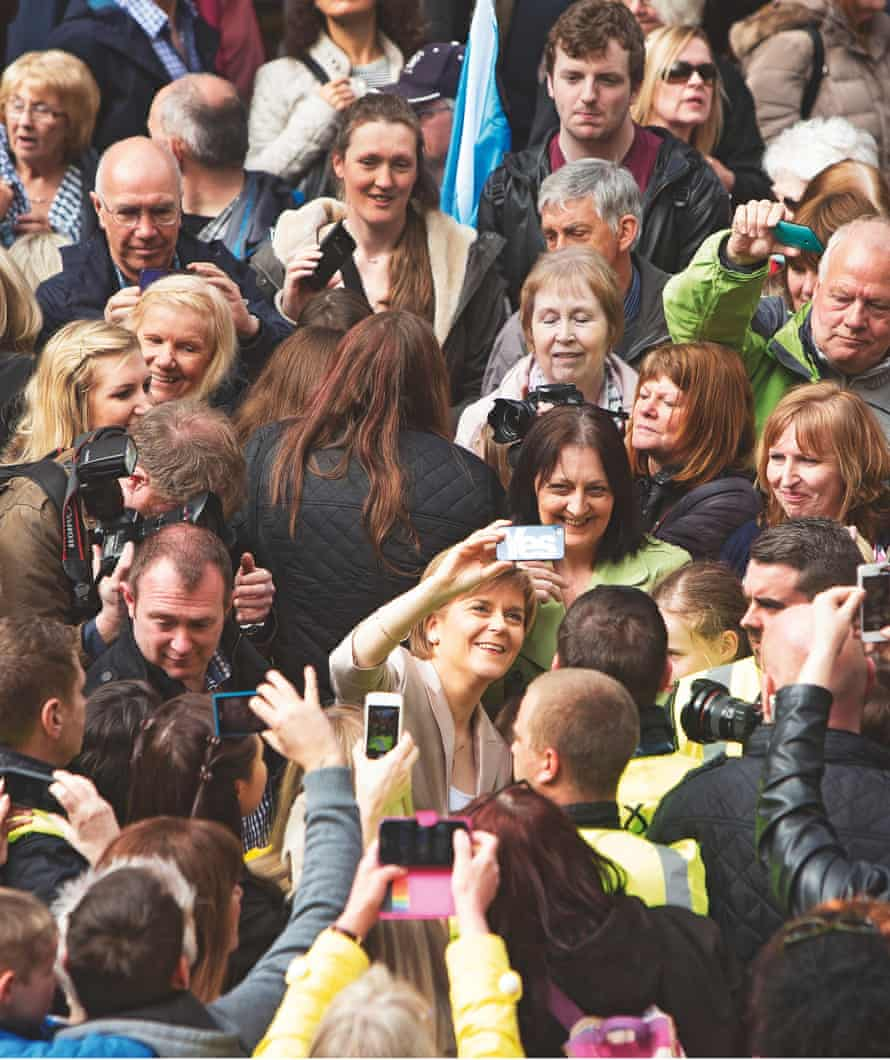 Nicola Sturgeon takes selfies with the crowd at a campaign rally