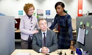 Office life… Inside No 9's second episode Cold Comfort starring Liz (Jane Horrocks), Andy (Steve Pemberton) and Joanne (Nikki Amuka-Bird).