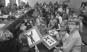 Pressure group Stop de Kindermoord visits the House of Representatives in Amsterdam in 1972.