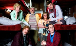 La Couchette with Kath (Julie Hesmondhalgh), Jorg (Steve Pemberton), Les (Mark Benton), Shona (Jessica Gunning), Maxwell (Reece Shearsmith) and Hugo (Jack Whitehall).