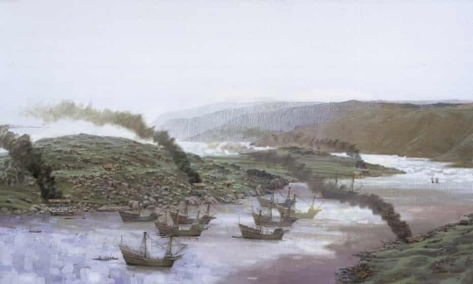 Basque galleons at anchor in Labrador.