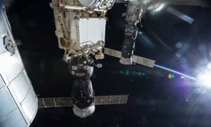 A Progress cargo vessel docked at the International Space Station in January 2014.