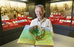 Archaeologist Julian Richards with a pop-up Stonehenge on show as part of the Stonehenge exhibition, 'Wish You Were Here' at the visitor centre.
