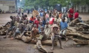 Burundian refugee children at the Gashora refugee camp in the Bugesera district of Rwanda.