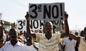 Protesters chant anti-government slogans during clashes with riot policemen in Bujumbura, 28 April.