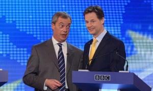 Nigel Farage and Nick Clegg at their BBC debate on Europe.