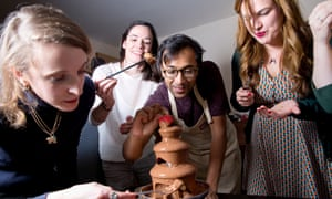 Rhik and friends tuck into the chocolate fountain