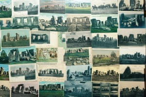 A collage of postcards on display at Stonehenge visitor centre as part of the exhibition.