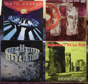 A selection of record sleeves on display at Stonehenge visitor centre as part of the exhibition.
