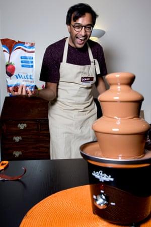 Rhik looks pretty happy with his chocolate fountain