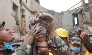 A baby boy was recovered alive after an earthquake hit Nepal.