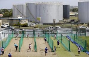 England national cricket team do a spot of net practice at the Kensington Oval in Bridgetown, Barbados.
