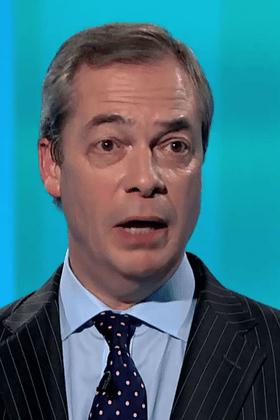 Nigel Farage as Leanne Wood tells him he should be ashamed.