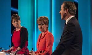Plaid Cymru leader Leanne Wood , Scottish National Party's Leader Nicola Sturgeon and Conservative leader David Cameron at The ITV Leaders' Debate