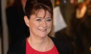 Plaid Cymru party leader Leanne Wood leaves MediaCityUK after appearing in the leaders election debate