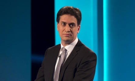 Labour leader Ed Miliband in the party leaders' televised election debate on 2 April 2015.