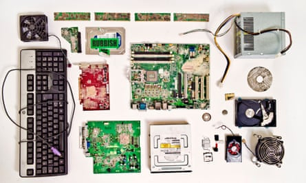 The remains of the PC desktop and the Mac laptop that GCHQ came to the Guardian's offices in King's Place and destroyed. Only the laptop is displayed in the exhibition.