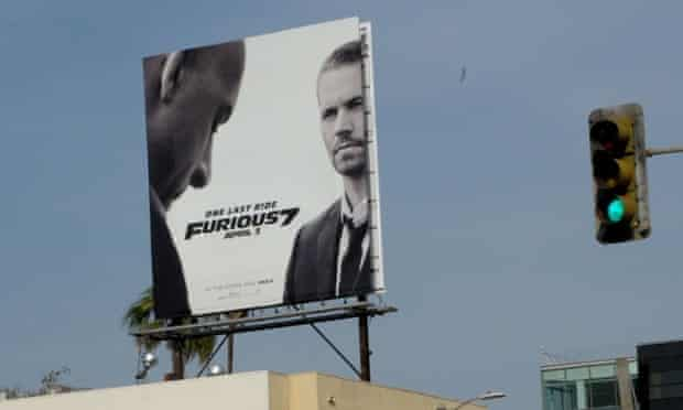 Vin Diesel and Paul Walker in a billboard for Fast & Furious 7.