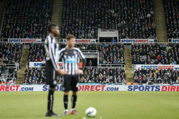 Sports Direct advertising during the Newcastle United v Manchester United Premier League match in March.