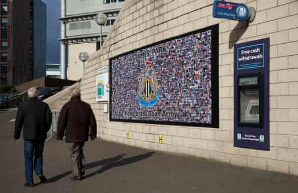 A mural of Newcastle United fans on a wall at St James' Park, which was paid for by Wonga and unveiled in 2014.