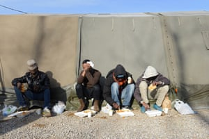 A hot meal. Charities have issued warnings over the large number of people at the site