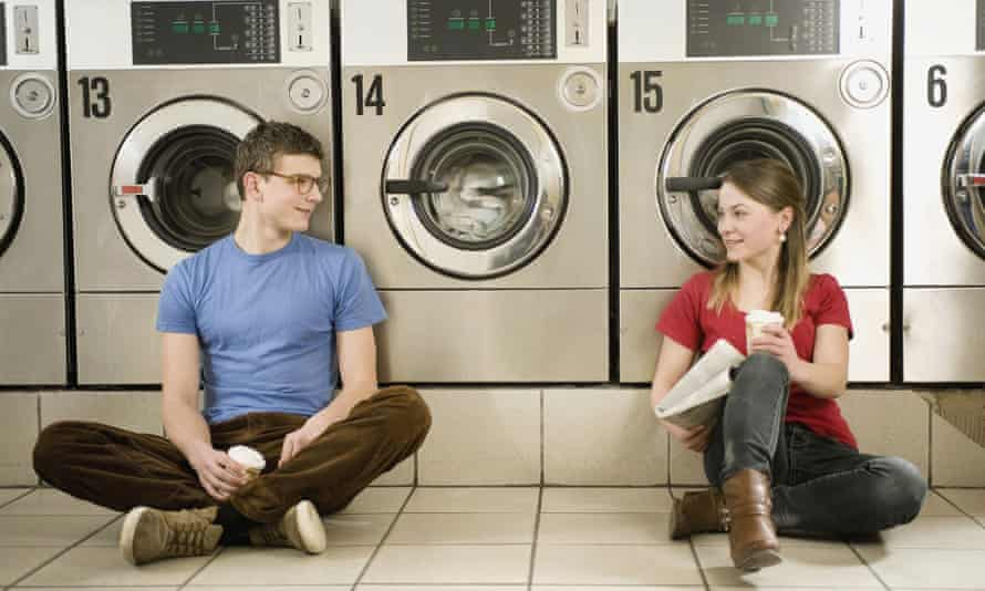 Young people in a launderette