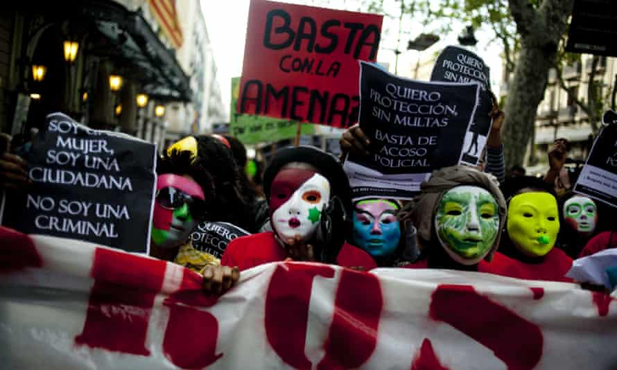 'I am a woman. I am a citizen. I am not a criminal.' Demonstration in Barcelona against 2012 laws banning prostitution in the city.