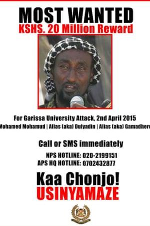 A Kenyan police poster about Mohamed Mohamud aka Dulyadeyn.