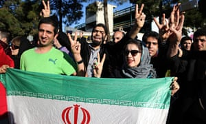 Iranians in Tehran celebrate the signing of the nuclear deal