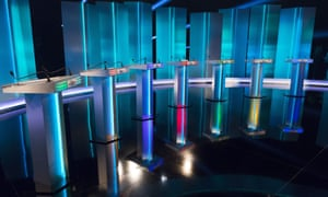 Empty podiums before the leaders' TV debate on Thursday.