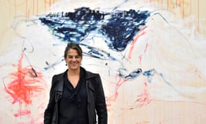 Tracey Emin and part of her work for The Last Great Adventure Is You exhibition, 2014.