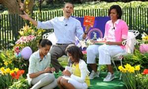 US President Barack Obama at the Easter Egg Roll at the White House, Washington DC.