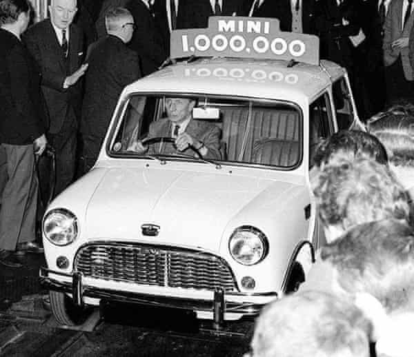 The millionth Mini rolling off the Longbridge production line in 1965.