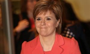 SNP leader Nicola Sturgeon leaves MediaCityUK after appearing in the leaders' election debate on 2 April.