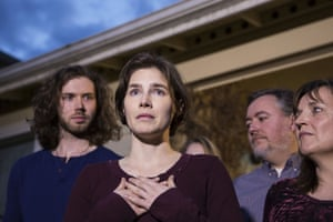 Amanda Knox speaks to the media during a brief press conference in front of her parents' home in Seattle, Washington. Knox and Raffaele Sollecito were acquitted by Italy's highest court of the murder of British student Meredith Kercher, who was killed in her bedroom on 1 November 2007 in Perugia. Knox said she is 'tremendously relieved and grateful' about the decision, and thanked supporters. 'To them, I say: Thank you from the bottom of my heart. Your kindness has sustained me. I only wish that I could thank each and every one of you in person.'